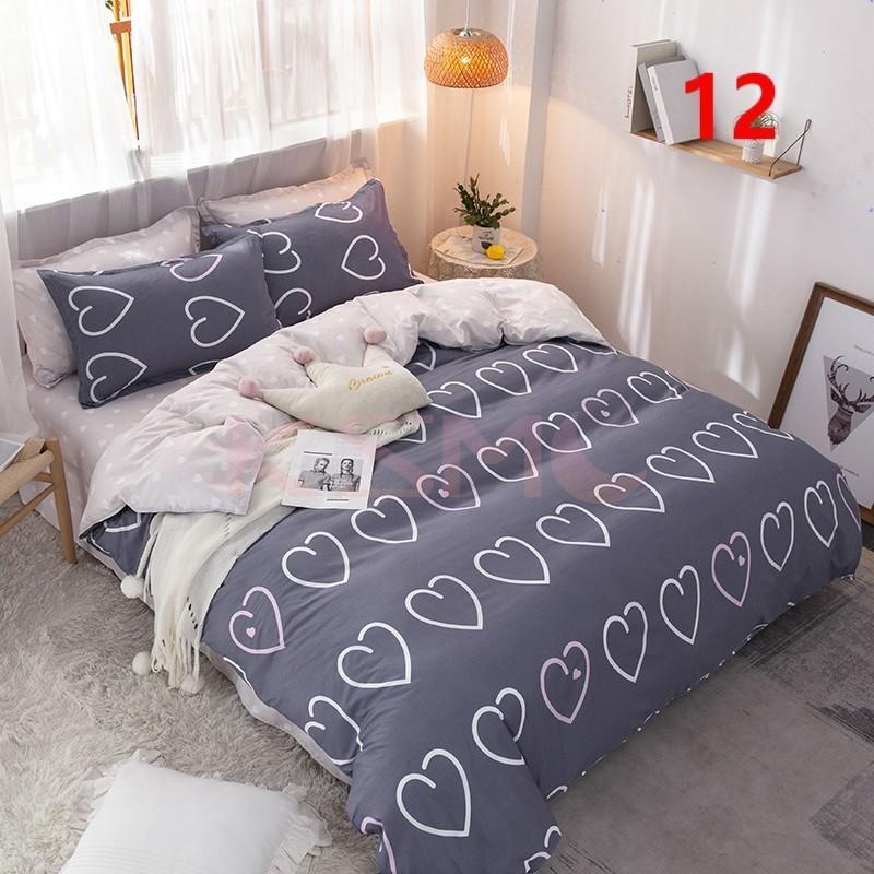 布団カバー 3点セット シングル ベッドカバー 寝具セット 枕カバー おしゃれ  ボックスシーツ 防臭 防ダニ 北欧風 コットン 柔らかい 可愛い 4点セミダブル|ksmc-shop|12