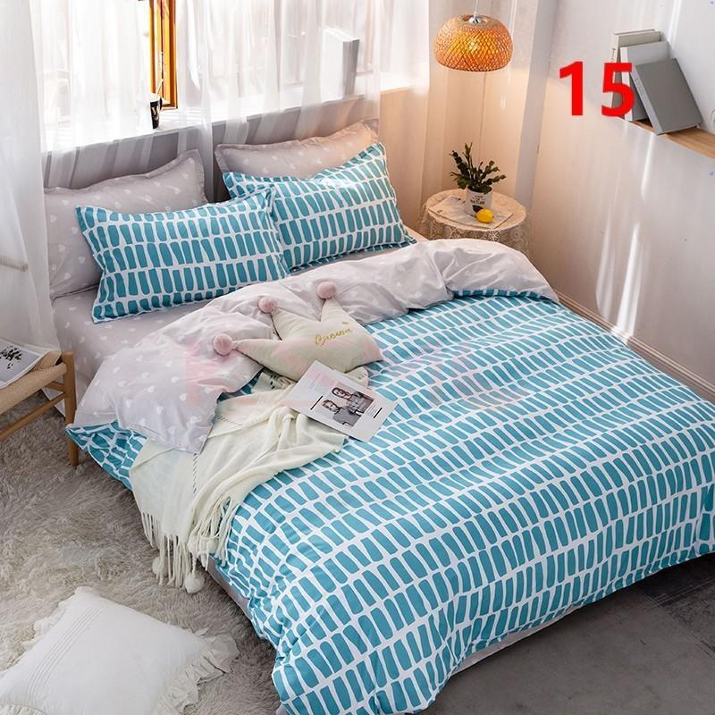 布団カバー 3点セット シングル ベッドカバー 寝具セット 枕カバー おしゃれ  ボックスシーツ 防臭 防ダニ 北欧風 コットン 柔らかい 可愛い 4点セミダブル|ksmc-shop|15