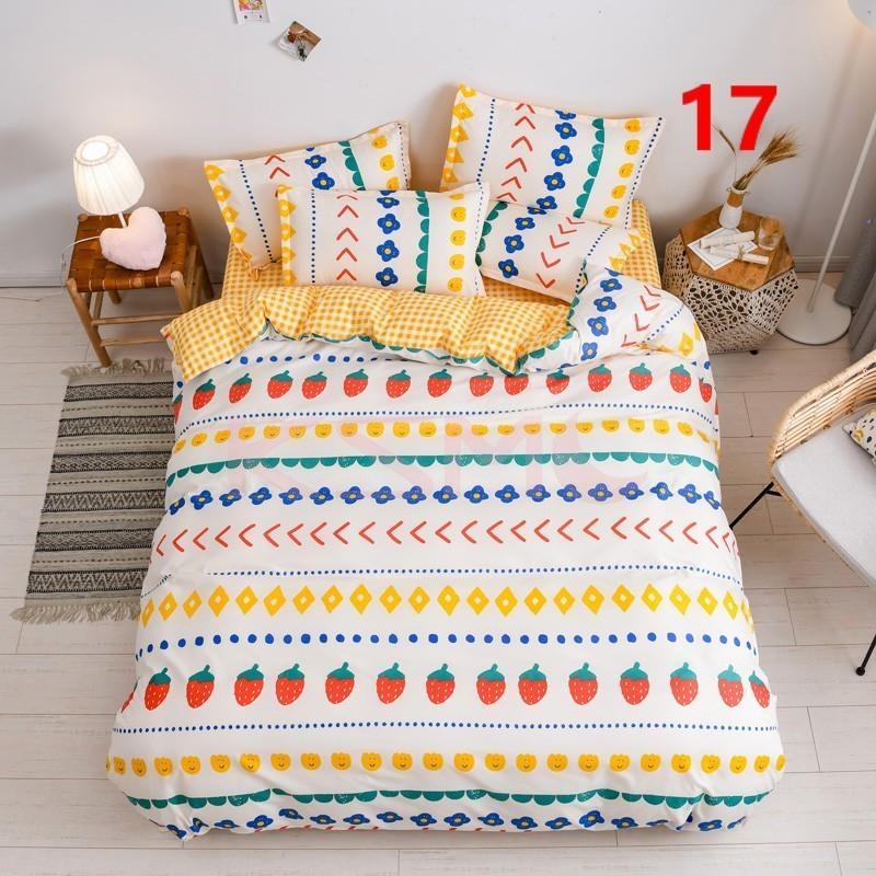 布団カバー 3点セット シングル ベッドカバー 寝具セット 枕カバー おしゃれ  ボックスシーツ 防臭 防ダニ 北欧風 コットン 柔らかい 可愛い 4点セミダブル|ksmc-shop|17