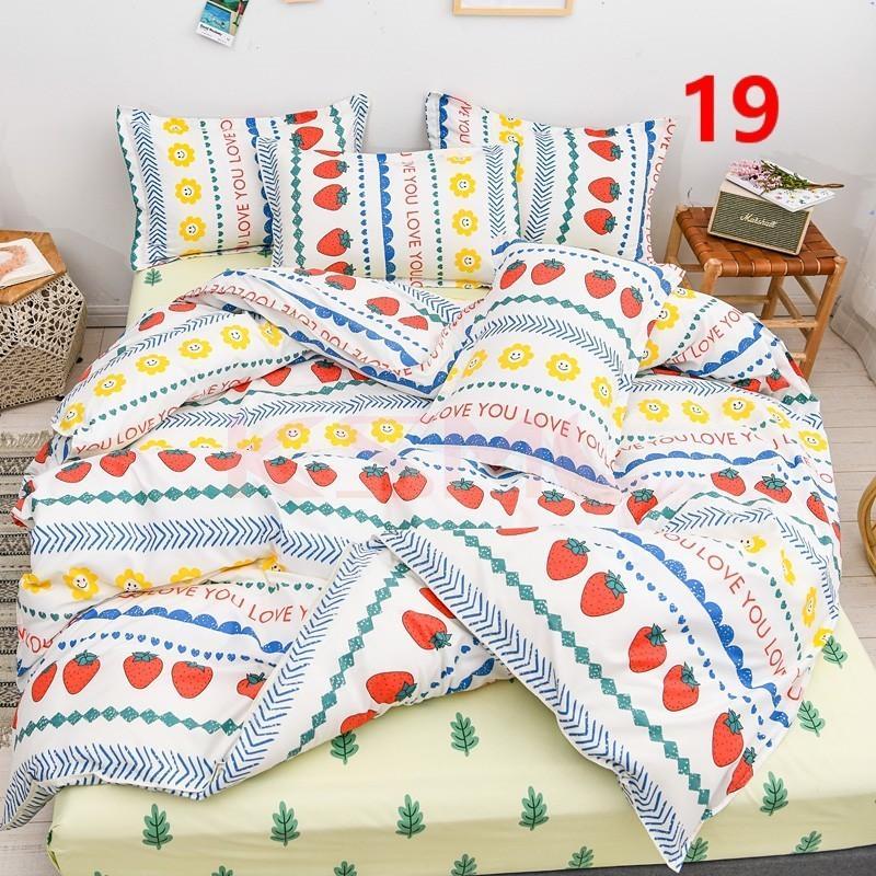 布団カバー 3点セット シングル ベッドカバー 寝具セット 枕カバー おしゃれ  ボックスシーツ 防臭 防ダニ 北欧風 コットン 柔らかい 可愛い 4点セミダブル|ksmc-shop|19