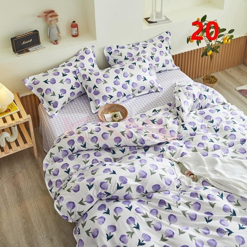 布団カバー 3点セット シングル ベッドカバー 寝具セット 枕カバー おしゃれ  ボックスシーツ 防臭 防ダニ 北欧風 コットン 柔らかい 可愛い 4点セミダブル|ksmc-shop|20