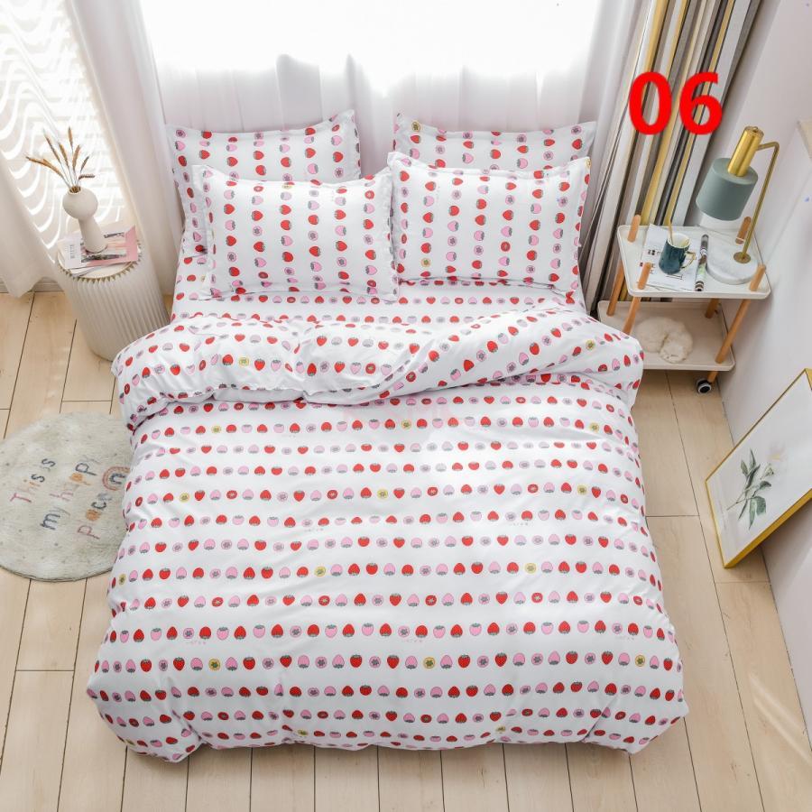 布団カバー 3点セット シングル ベッドカバー 寝具セット 枕カバー おしゃれ  ボックスシーツ 防臭 防ダニ 北欧風 コットン 柔らかい 可愛い 4点セミダブル|ksmc-shop|06