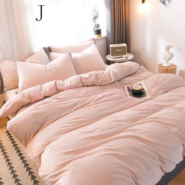 布団カバー セット 4点セット ダブル セミダブル 布団カバーシーツ 無地 おしゃれ シンプルデザイン 北欧 フラットシーツ  枕カバー 寝具セット |ksmc-shop|20