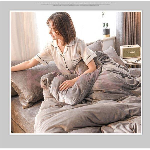 布団カバー セット 4点セット ダブル セミダブル 布団カバーシーツ 無地 おしゃれ シンプルデザイン 北欧 フラットシーツ  枕カバー 寝具セット |ksmc-shop|04