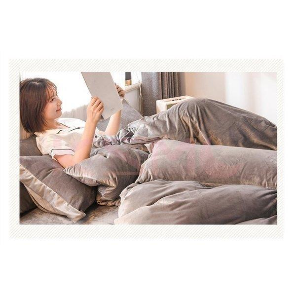布団カバー セット 4点セット ダブル セミダブル 布団カバーシーツ 無地 おしゃれ シンプルデザイン 北欧 フラットシーツ  枕カバー 寝具セット |ksmc-shop|05