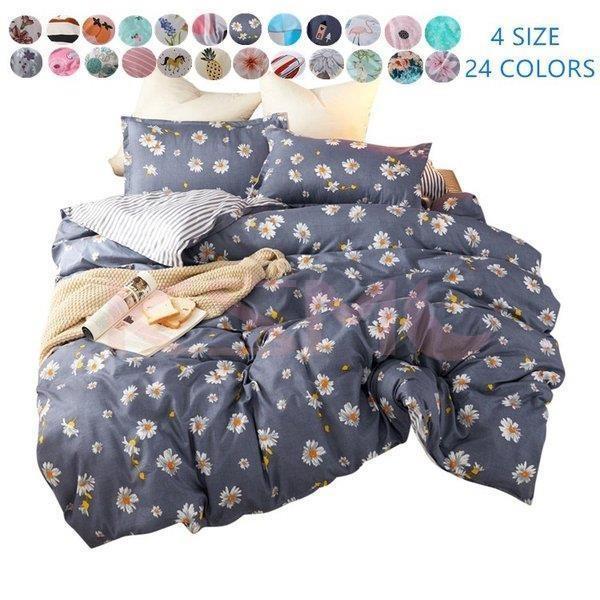 布団カバーセット シングル セミダブル おしゃれ 北欧風 柔らかい ベッドカバー 寝具セット 枕カバー 四季通用 肌に優しい 花柄 可愛い 防臭 防ダニ|ksmc-shop