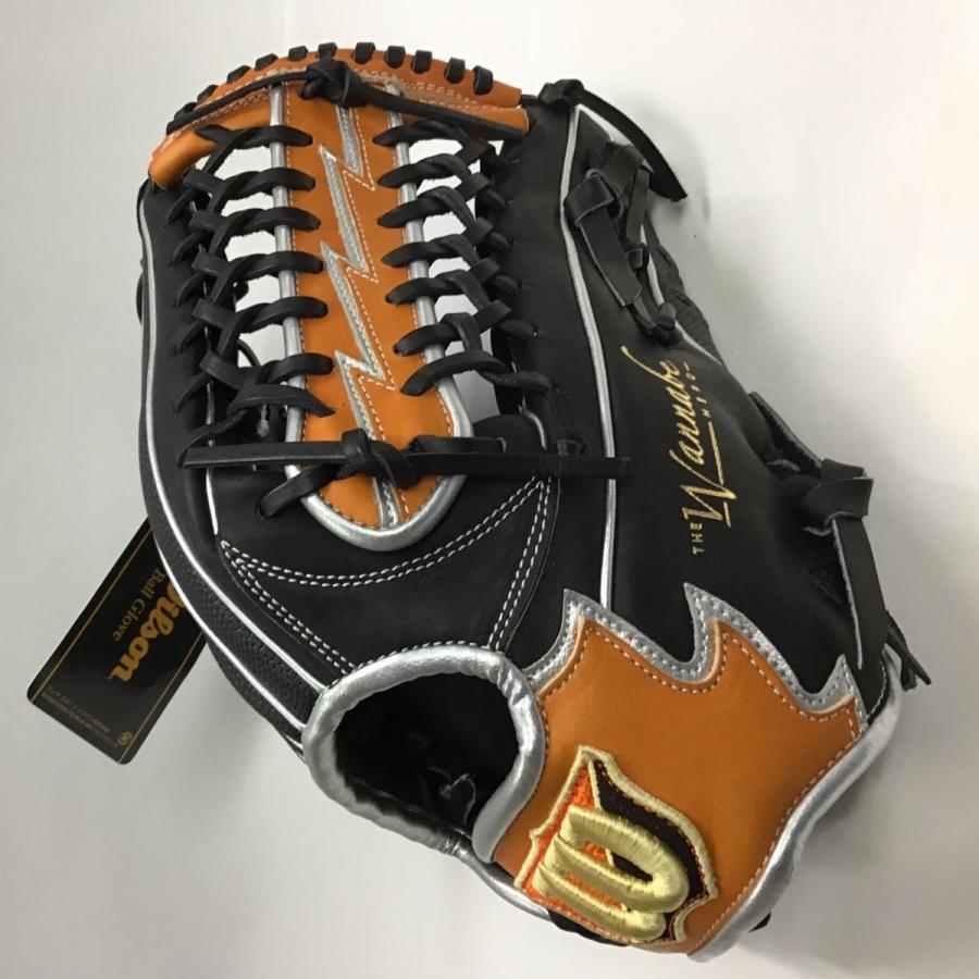 Wilson ウィルソン 軟式野球 一般用・外野手用 Lサイズ 右投用 ブラック×オレンジ×タン