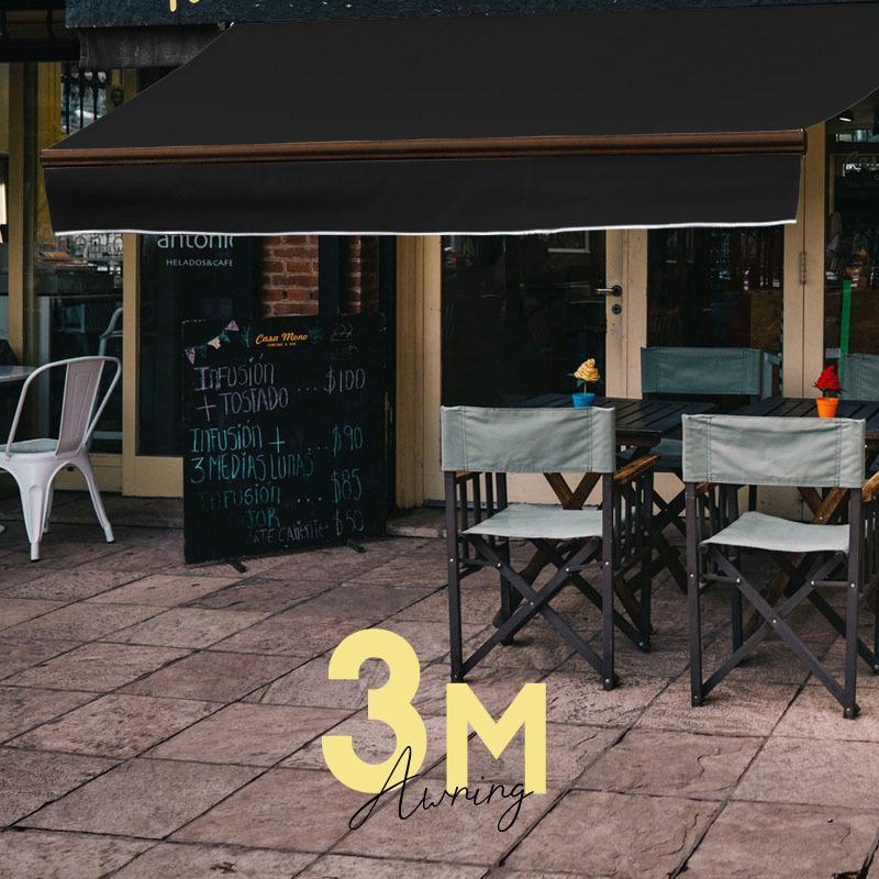 オーニングテント 3m 2m 日よけ シェード ブラック フレーム ブラウン 日除けシェード サンシェード スクリーン 黒 茶色 庭 ベランダ _71185