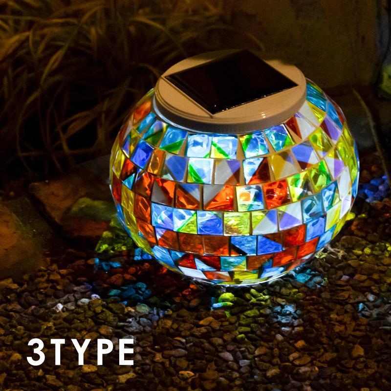 ソーラーライト 宅配便送料無料 屋外 防水 ステンドグラス ランプ 置き型 ガーデンライト LED 北欧 モザイクランプ 最安値 おしゃれ 自動点灯 照明