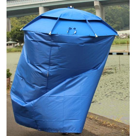 自在パラソル万力と雨天兼用釣宝90+防水シート