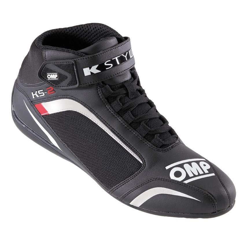 ☆【OMP】KS-2カートブーツ - 子供用 ブラック/ホワイト/レッド UK 2.5 / Eur 35