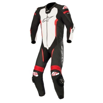☆【Alpinestars】Alpinestars Missile 1 Piece Leather Motorcycle Suit - Tech Air Bag Compatible Black / White / Red Fluro | UK 44 / Eur 54