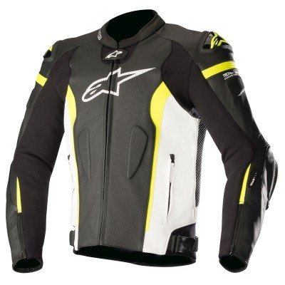 ☆【Alpinestars】レーシングジャケット Missile Leather Motorcycle Jacket - Tech Air Compatible 黒 / 白い / 黄 Fluro | UK 48 / Eur 58