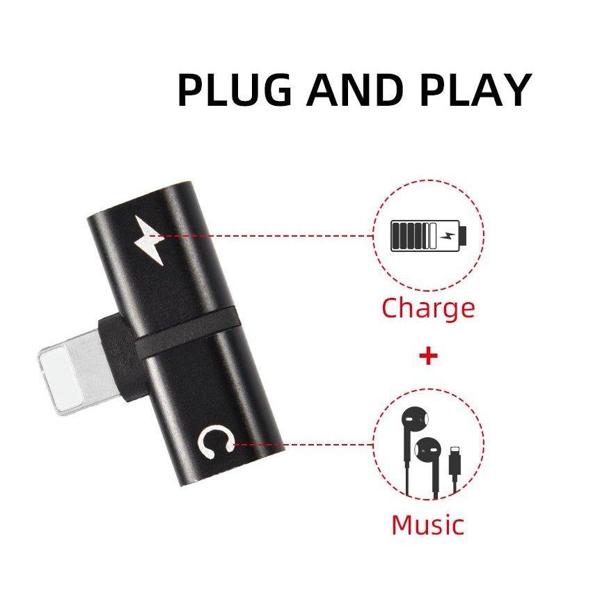 アイフォン iPhone イヤホンジャック 充電 変換アダプタ 音楽 通話 同時 二股 レッド|kumagayashop|04