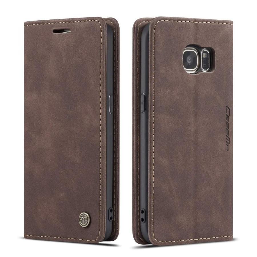 QLTYPRI Samsung Galaxy S7 Edge ケース 手帳型 本革 高級レザー マグネット カード収納 全面保護 薄型 耐衝撃 横置き Qi充電対応 おしゃれ 人気 - コーヒー|kumagayashop