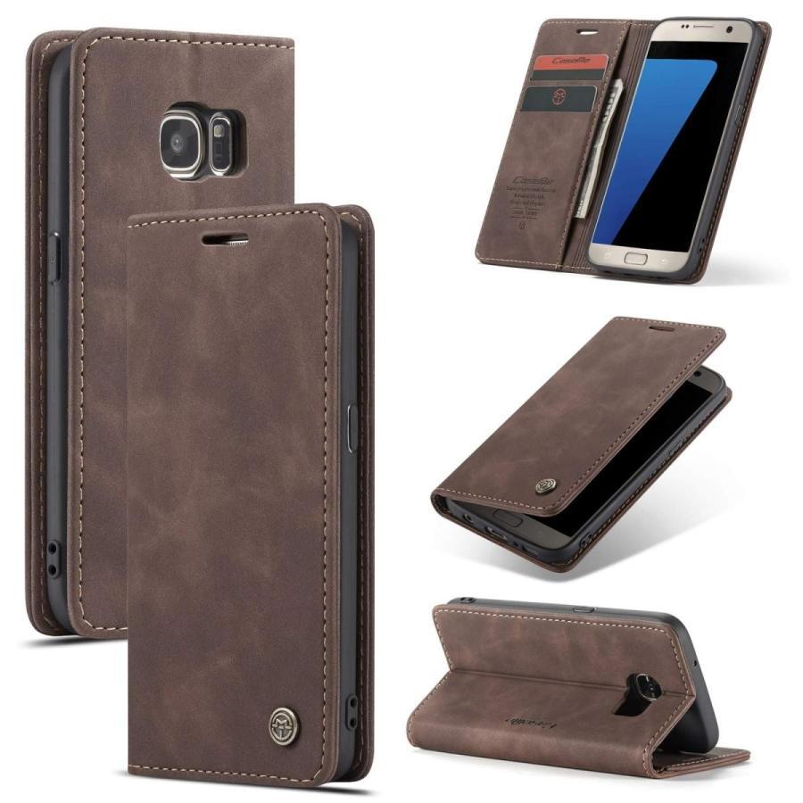 QLTYPRI Samsung Galaxy S7 Edge ケース 手帳型 本革 高級レザー マグネット カード収納 全面保護 薄型 耐衝撃 横置き Qi充電対応 おしゃれ 人気 - コーヒー|kumagayashop|02