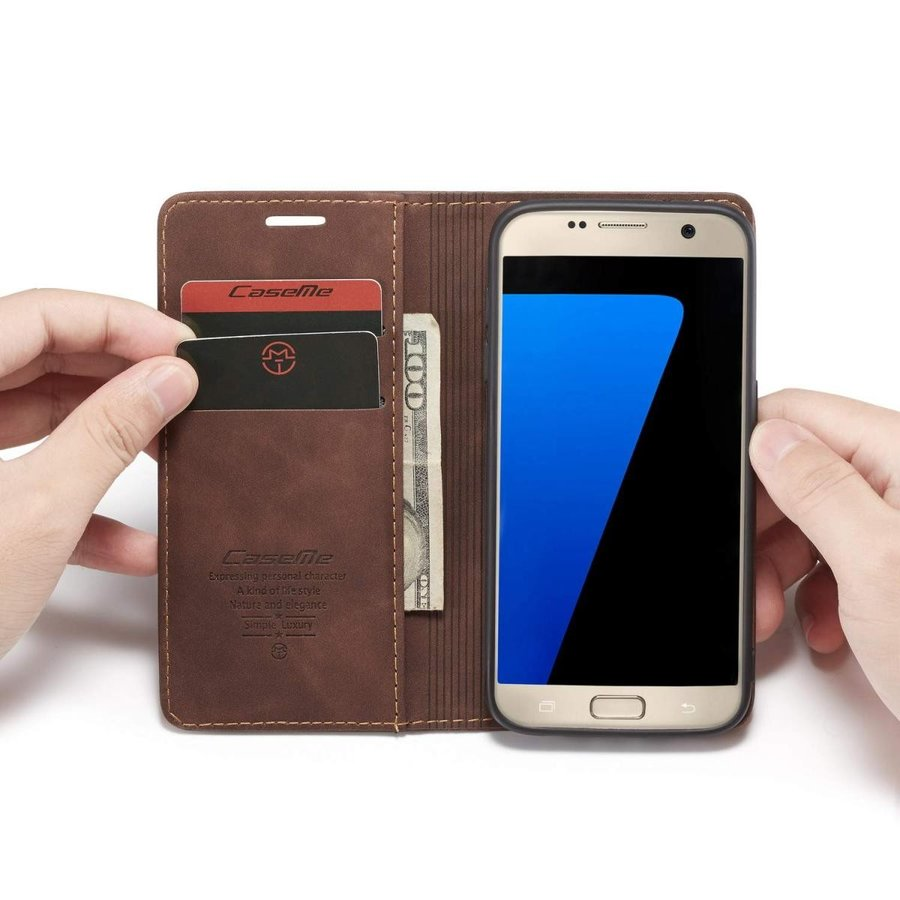 QLTYPRI Samsung Galaxy S7 Edge ケース 手帳型 本革 高級レザー マグネット カード収納 全面保護 薄型 耐衝撃 横置き Qi充電対応 おしゃれ 人気 - コーヒー|kumagayashop|03