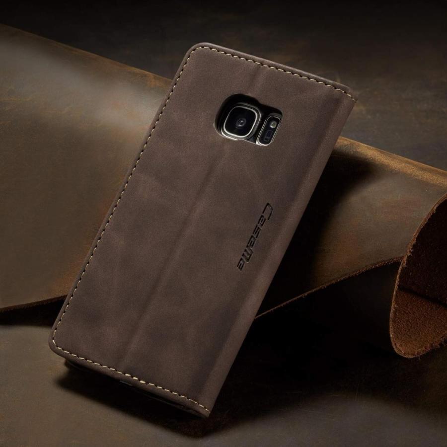 QLTYPRI Samsung Galaxy S7 Edge ケース 手帳型 本革 高級レザー マグネット カード収納 全面保護 薄型 耐衝撃 横置き Qi充電対応 おしゃれ 人気 - コーヒー|kumagayashop|05