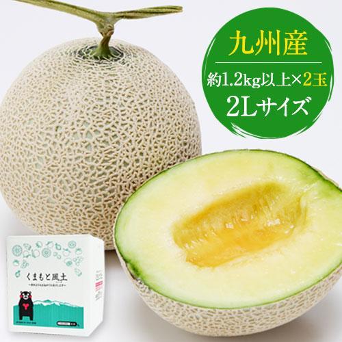 九州産 マスクメロン 2玉 秀品 送料無料 2Lサイズ 1玉約1.2kg以上×2玉7-14営業日以内に出荷予定(土日祝日除く) kumamotofood