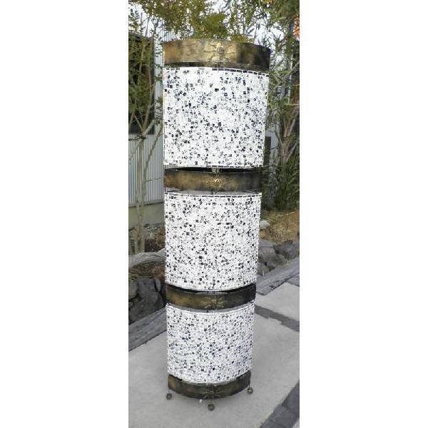 スタンドランプ アイアン モザイクタイル ランプ 楕円 白 H150cm バリ島製 アジアン 照明 フロアライト