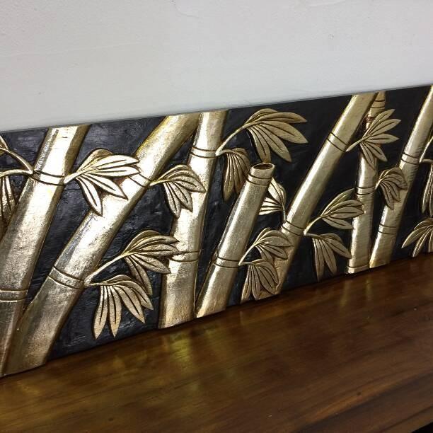 木彫り レリーフ レリーフ アートパネル バンブー 120cm アジアン 和風 ウォールデコレーション リゾートホテル 木製 彫刻 おしゃれ