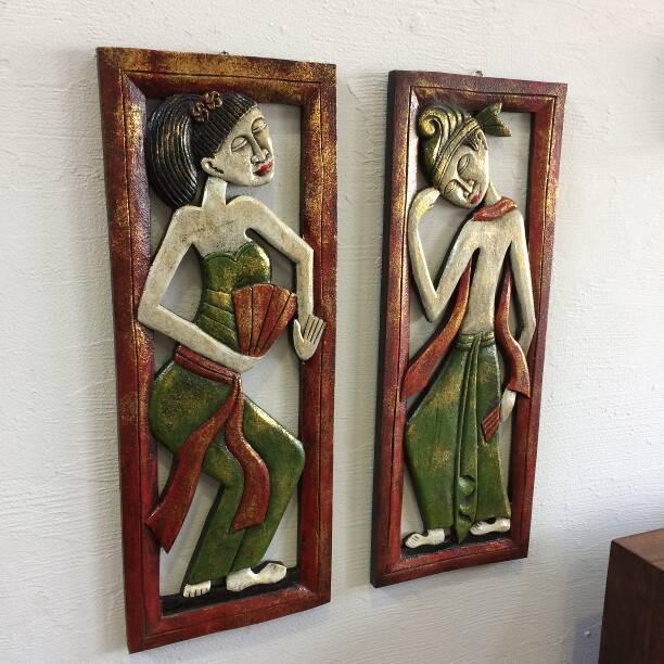 壁掛けレリーフ 壁掛けレリーフ レゴン舞踊 セット 木彫り アートパネル ウォールデコレーション バリ雑貨 アジアン雑貨 インテリア