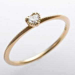 大流行中! K10イエローゴールド 天然ダイヤリング 指輪 ダイヤ0.05ct 9号 アンティーク調 プリンセス ハートモチーフ, ノシロシ d188a337