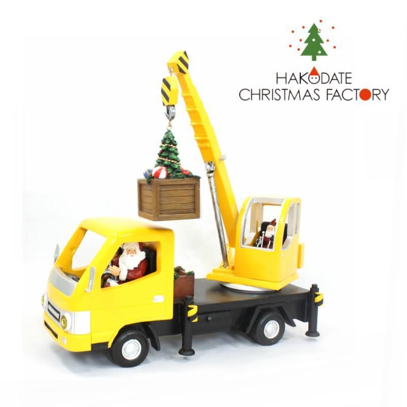 サンタさんLED付きオルゴールクレーン クリスマス オルゴール 可愛い かわいい インテリア ミニチュア 働く車
