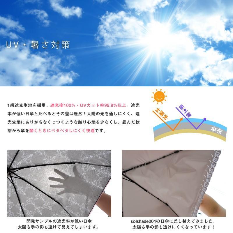 日傘 折りたたみ solshade 晴雨兼用 完全遮光 軽量 折りたたみ傘 99%UVカット 100% 遮光 遮熱 日傘兼用折りたたみ傘 おしゃれ かわいい ギフト プレゼント|kurashikan|02