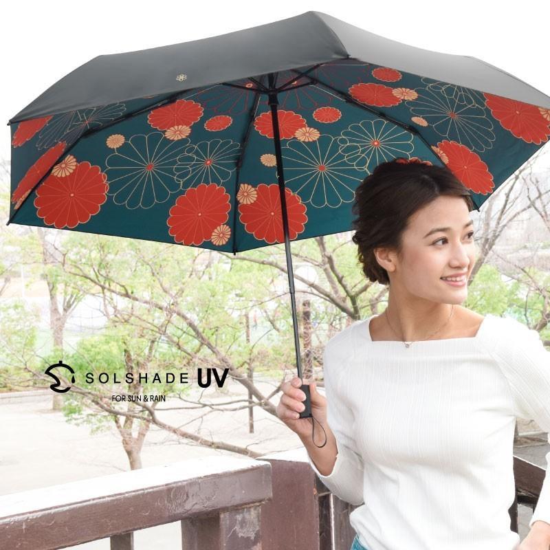 日傘 完全遮光 折りたたみ solshade 晴雨兼用 軽量 UVカット 遮光 遮熱 100% 折りたたみ傘  3段折り畳み 傘 和柄 ブラック レディース ギフト プレゼント kurashikan 18