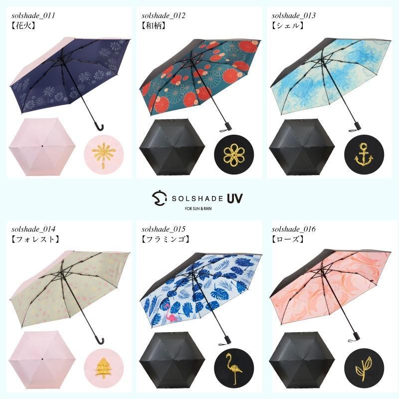 日傘 完全遮光 折りたたみ solshade 晴雨兼用 軽量 UVカット 遮光 遮熱 100% 折りたたみ傘  3段折り畳み 傘 和柄 ブラック レディース ギフト プレゼント kurashikan 21