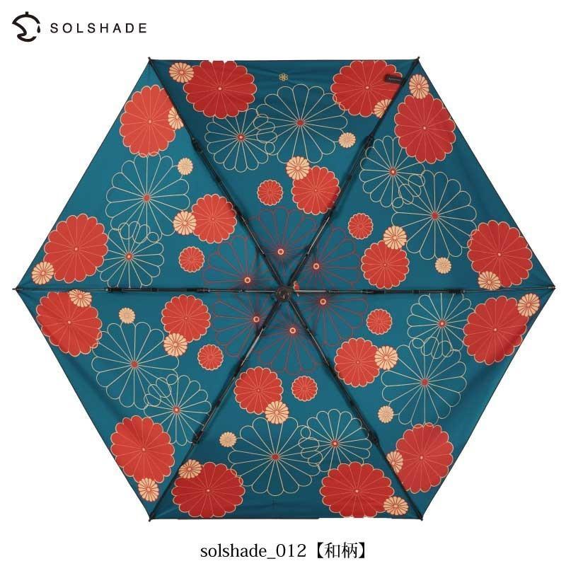 日傘 完全遮光 折りたたみ solshade 晴雨兼用 軽量 UVカット 遮光 遮熱 100% 折りたたみ傘  3段折り畳み 傘 和柄 ブラック レディース ギフト プレゼント kurashikan 07