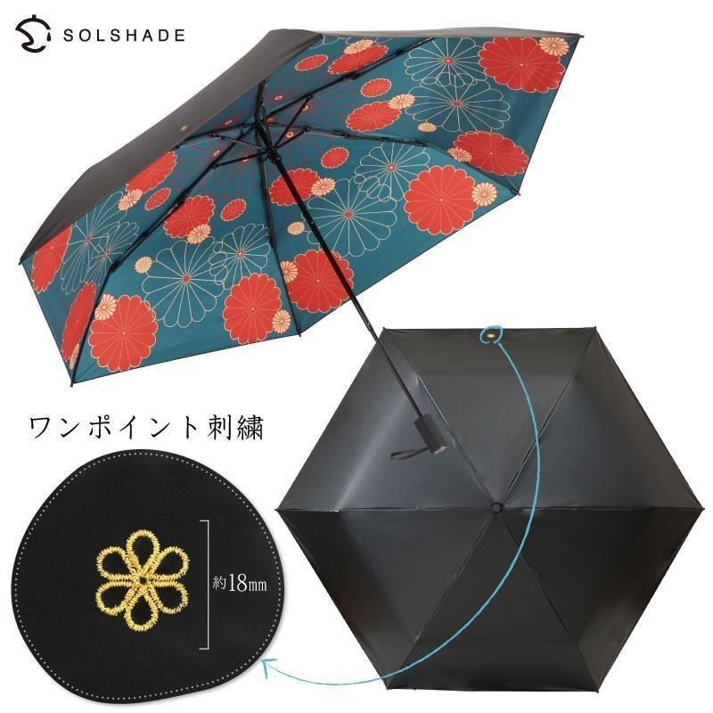 日傘 完全遮光 折りたたみ solshade 晴雨兼用 軽量 UVカット 遮光 遮熱 100% 折りたたみ傘  3段折り畳み 傘 和柄 ブラック レディース ギフト プレゼント kurashikan 08