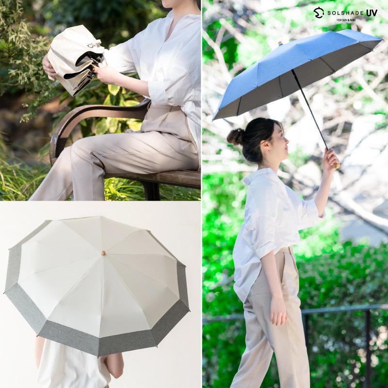 日傘 uvカット 100%完全遮光 折りたたみ 晴雨兼用 10本骨傘 軽量 コンパクト 4段伸縮 母の日 UPF50+ UVカット 暑さ対策 熱中症対策 紫外線カット ソルシェード|kurashikan|02