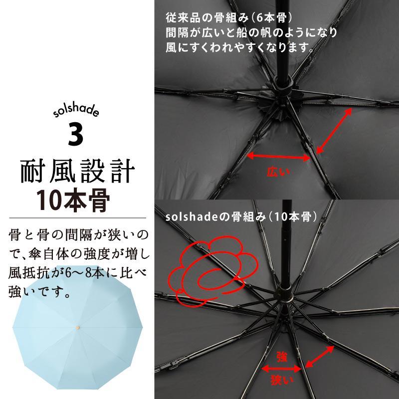 日傘 uvカット 100%完全遮光 折りたたみ 晴雨兼用 10本骨傘 軽量 コンパクト 4段伸縮 母の日 UPF50+ UVカット 暑さ対策 熱中症対策 紫外線カット ソルシェード|kurashikan|12