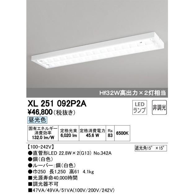 オーデリック照明器具 ベースライト 一般形 XL251092P2A (ランプ別梱包 NO342A ×2) LED LED LED 宅配便不可 7e4