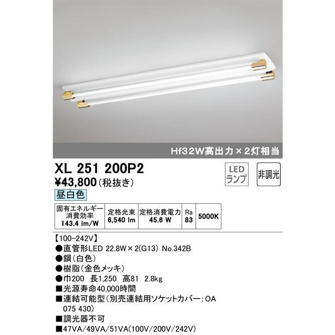 オーデリック照明器具 オーデリック照明器具 ベースライト 一般形 XL251200P2 (ソケットカバー・ランプ別梱包 NO342B ×2) LED 宅配便不可