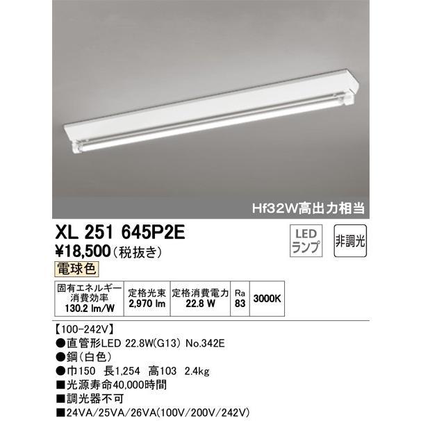 オーデリック照明器具 ベースライト 一般形 XL251645P2E (ランプ別梱包 NO342E) LED 宅配便不可