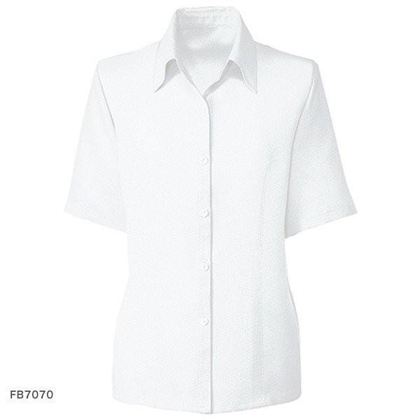 半袖ブラウスFB7070 ホワイト/サックス 21号23号