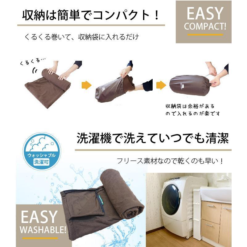 インナーシュラフ 寝袋 フリース 毛布 ブランケット コンパクト 車中泊 マット Bears Rock|kurayashiki|10
