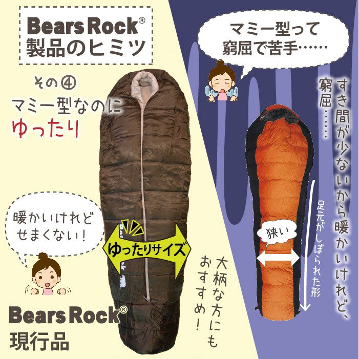 寝袋 冬用 車中泊 -15度 マミー型 ふっくらと包み込まれる暖かさ 洗える Bears Rock センタージップ シュラフ キャンプ コンパクト 4シーズン FX-451G -15℃|kurayashiki|10