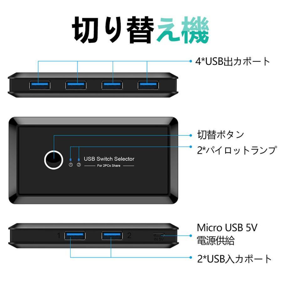 USB切替器 3.0対応 切替え機 プリンタ 外付けHDD キーボード マウス用 パソコン2台 USB機器4台 手動切替機 PCHENBRB|kuri-store|09