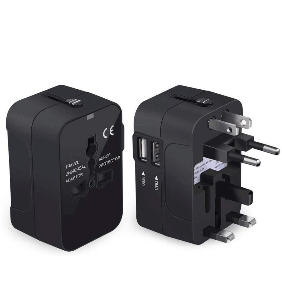 旅行用変換プラグ 海外変換アダプター 全世界対応マルチアダプター 海外旅行用充電器 デュアル USB充電 2ポート付き 変換コンセント kuri-store 05