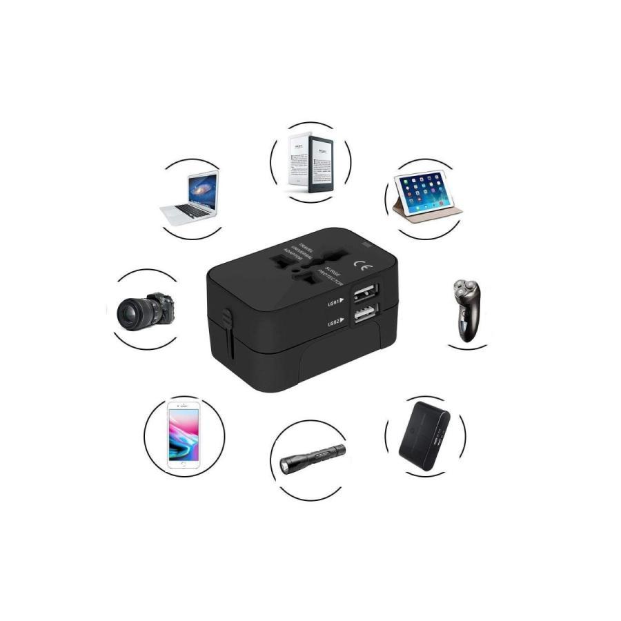 旅行用変換プラグ 海外変換アダプター 全世界対応マルチアダプター 海外旅行用充電器 デュアル USB充電 2ポート付き 変換コンセント kuri-store 07