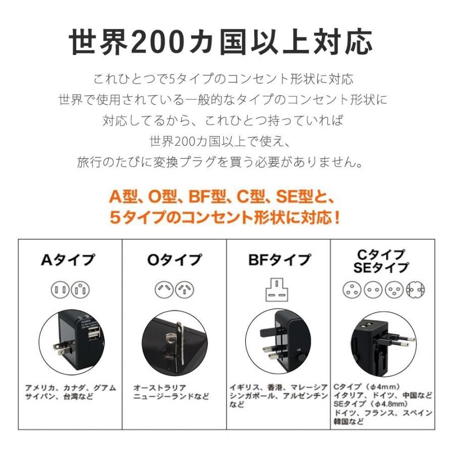 旅行用変換プラグ 海外変換アダプター 全世界対応マルチアダプター 海外旅行用充電器 デュアル USB充電 2ポート付き 変換コンセント kuri-store 09