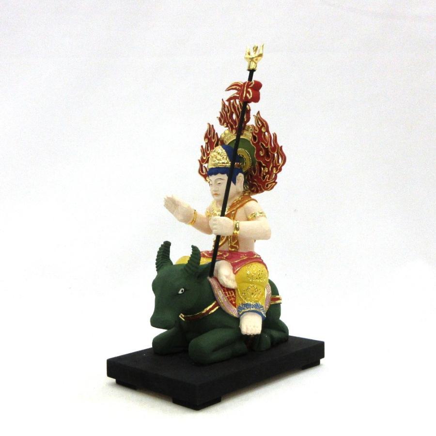木彫仏像/焔摩天総高20cm桧木彩色