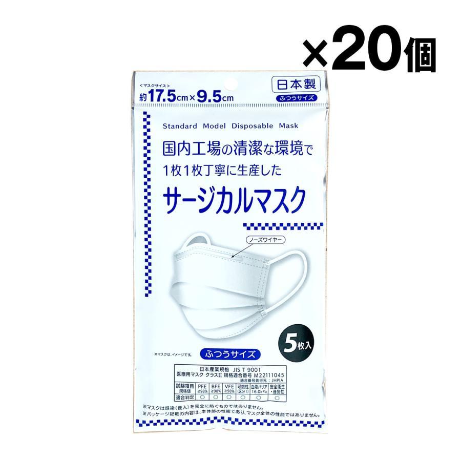 日本製 サージカルマスク 大人用 5枚入×20個 合計100枚