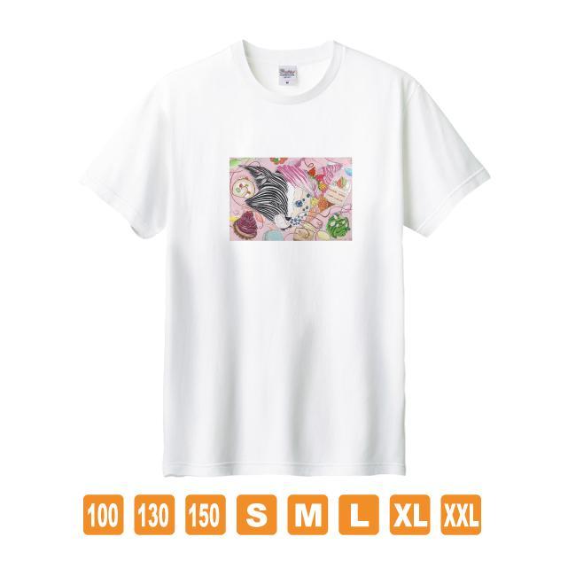 Metamorphose 白 おかしなせかい イラストプリント 半袖 Tシャツ|kuriten