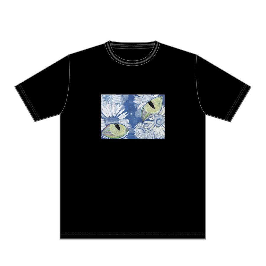 あの空へ 黒 おかしなせかい イラストプリント 半袖 Tシャツ kuriten 02