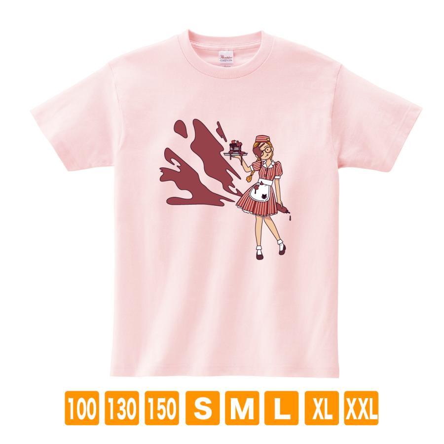 アメリカンダイナー・チョコレート ライトピンク サナダシン オリジナルイラスト プリント 半袖  Tシャツ|kuriten